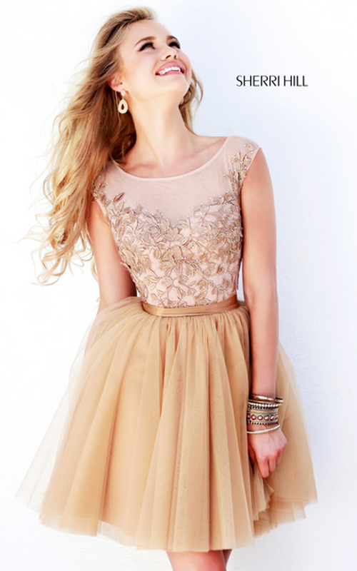 sherri hill 11171 nude a-line sweet 16 party skirt