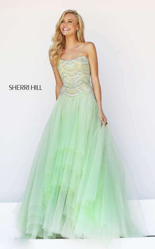 elegant sherri hill 11082 sweetheart prom gown green